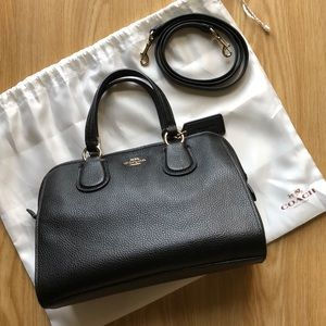 COACH Mini Nolita Black Pebbled Leather Satchel